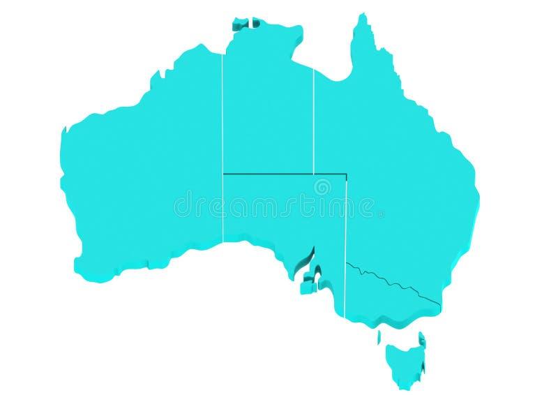 Blått Australien kartlägger vektor illustrationer