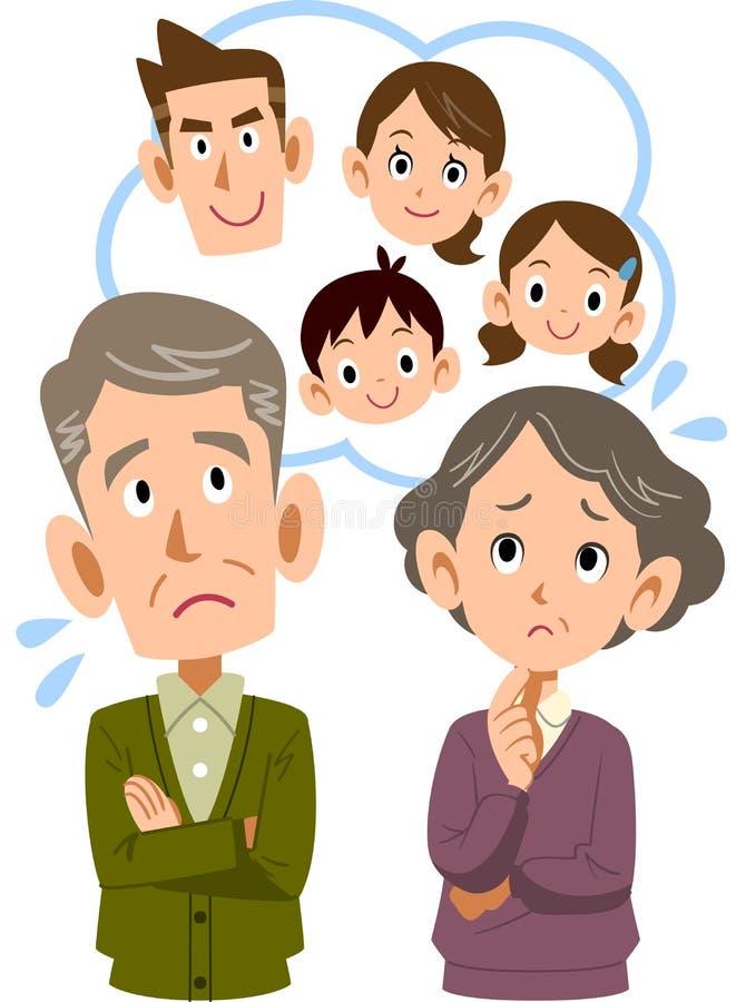 Ett gammalt par som är oroligt om deras familj för son` s vektor illustrationer