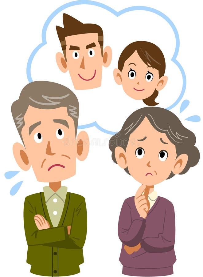 Ett gammalt par som känner sig oroligt om deras son och par stock illustrationer