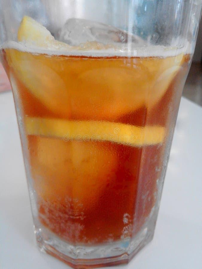 Ett genomskinligt exponeringsglas av förkylning och förnyar te med iskuber och skivan av citronen royaltyfria foton