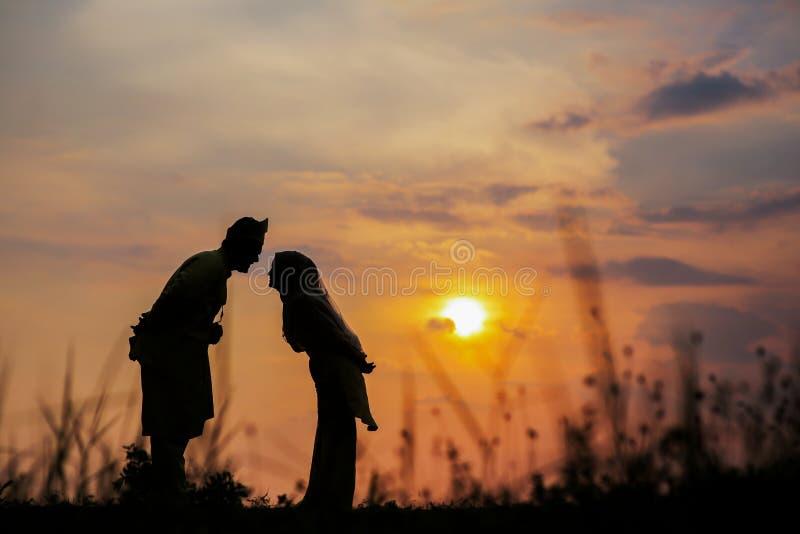 Ett gift par som försöker att kyssa sig under solnedgångtid efter deras bröllop arkivfoton