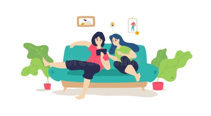 Ett gift par vilar på soffan vektor Plan tecknad filmstil Musikkurser Grabben med flickan som surfar internet stock illustrationer