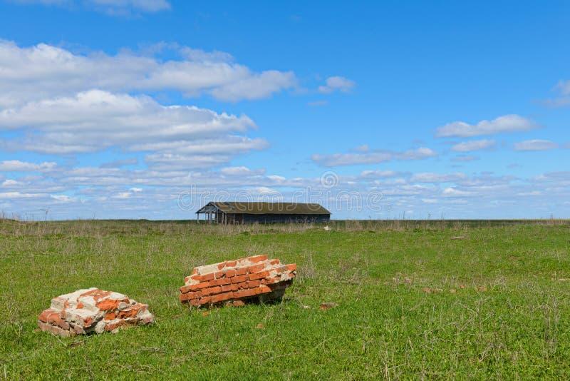 Ett grönt fält med rest av en tegelsten royaltyfria foton