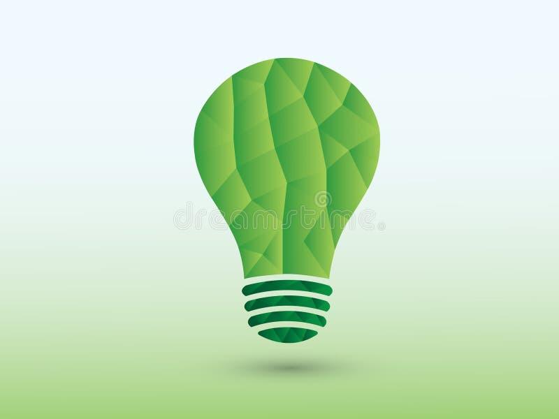 Ett grönt ljus för polygonidékula på ljus bakgrund för kreativitet royaltyfri illustrationer