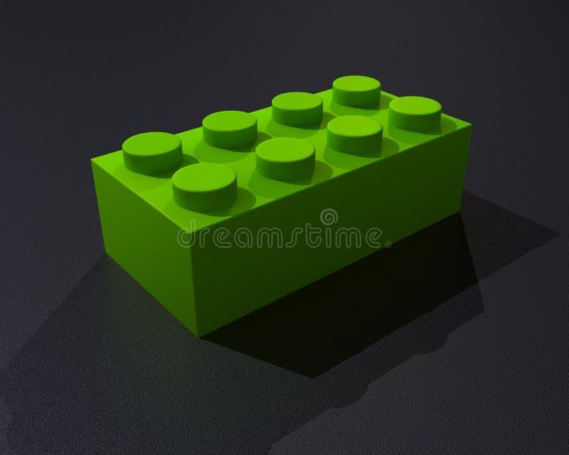 Ett greenblock för lego 3D stock illustrationer