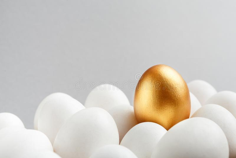Ett guld- ägg bland vita ägg på grå bakgrund arkivbild