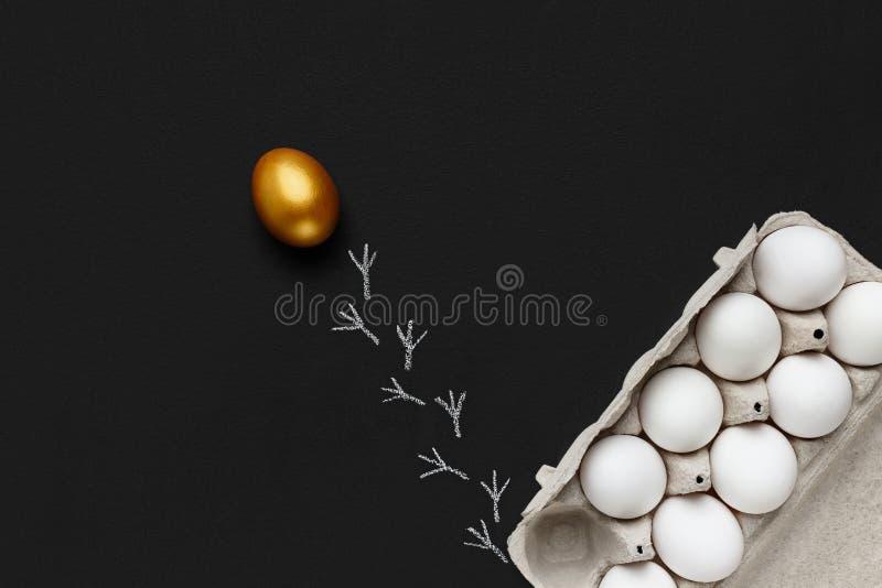 Ett guld- avskilja för ägg av gruppen av vita ägg, svart bakgrund royaltyfri fotografi