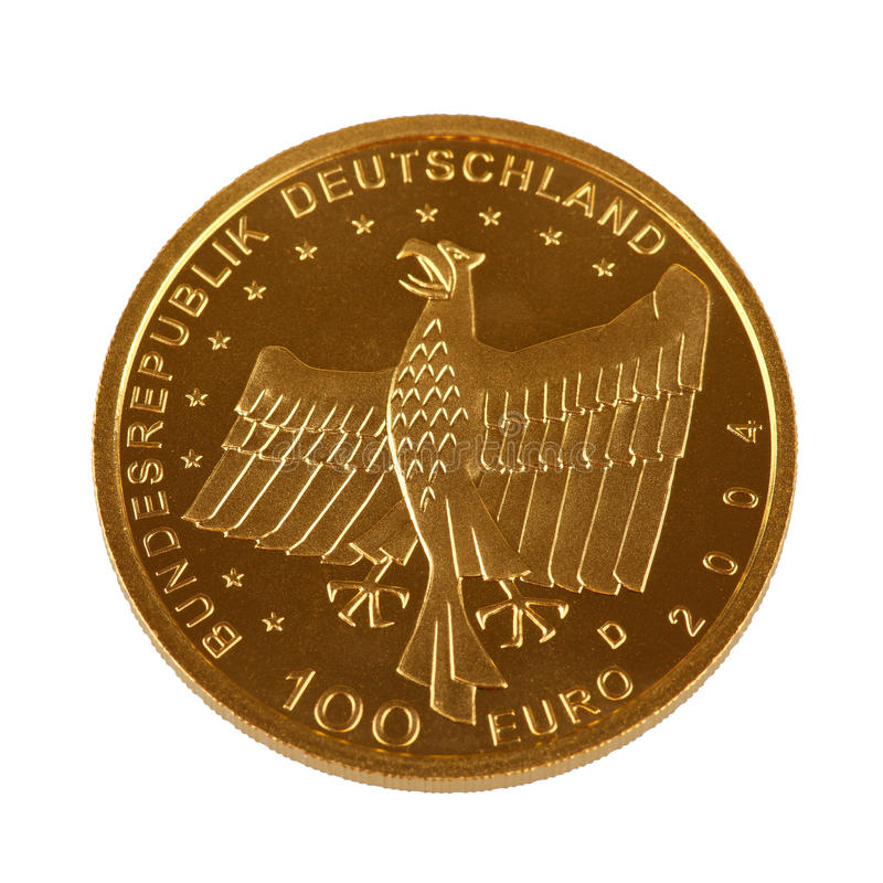Ett guld- mynt för hundreteuro royaltyfri fotografi