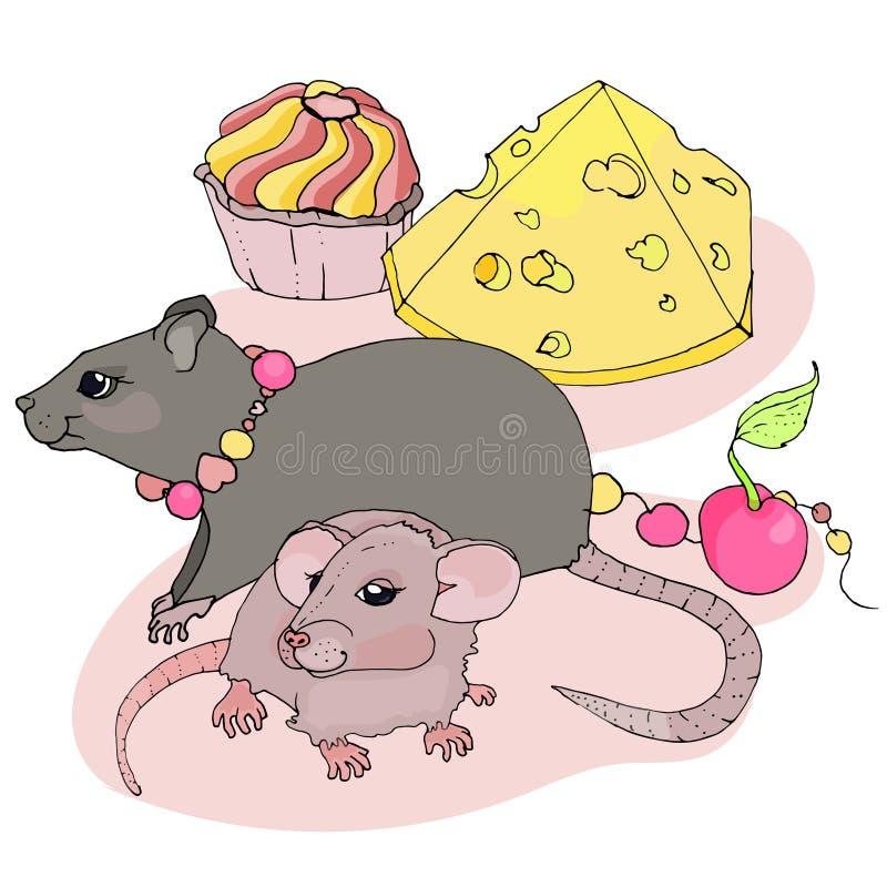 Ett gulligt tjaller med behandla som ett barn bredvid ost, kakan och en körsbär royaltyfri illustrationer