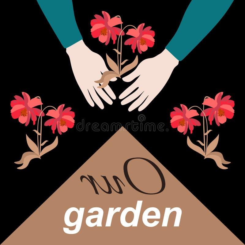 Ett härligt fyrkantigt kort med händerna av en trädgårdsmästare som planterar röda blommor och texten 'vår trädgård ', stock illustrationer