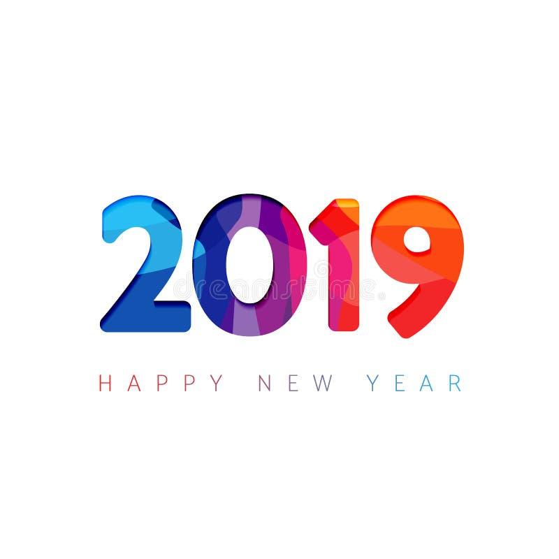 2019 ett hälsningkort för lyckligt nytt år royaltyfri illustrationer