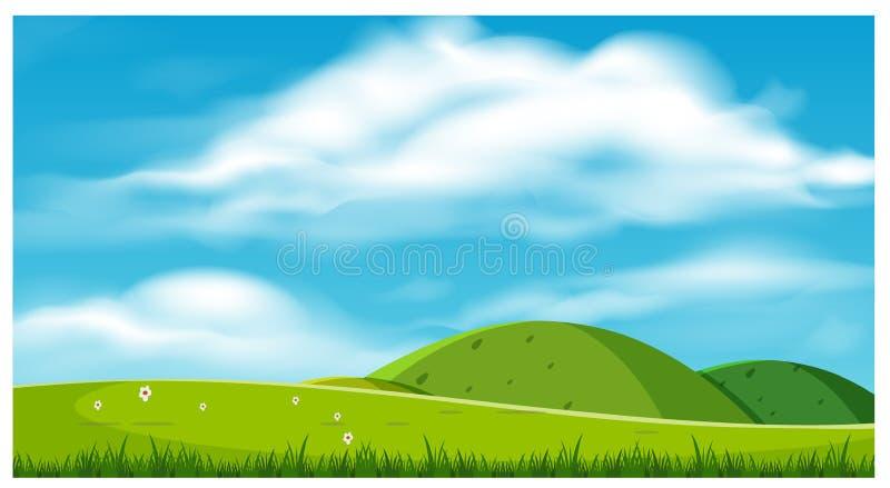 Ett härligt landskap med kullar royaltyfri illustrationer