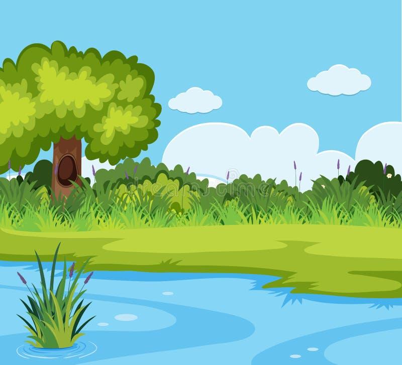 Ett härligt naturlandskap royaltyfri illustrationer