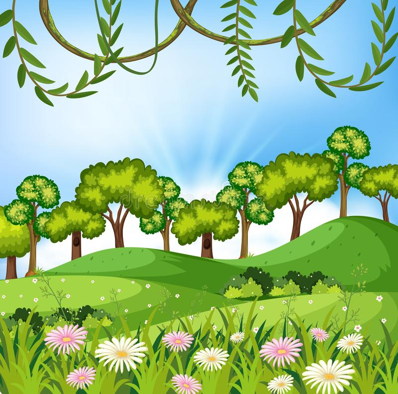 Ett härligt naturlandskap vektor illustrationer