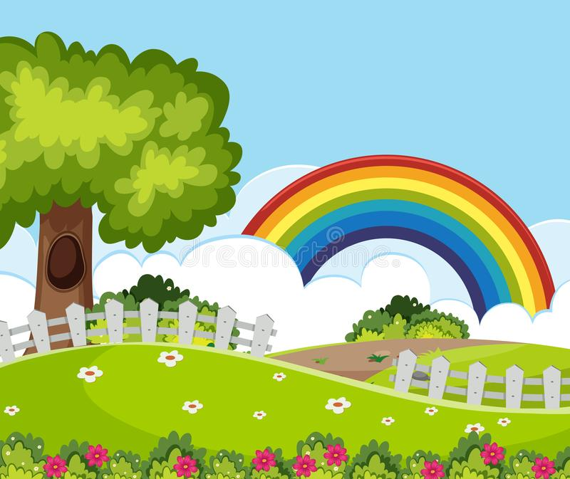 Ett härligt trädgårds- landskap stock illustrationer