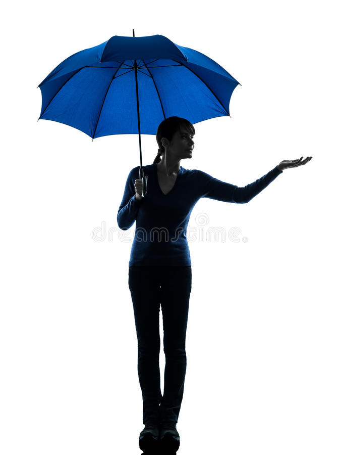 Gömma i handflatan det hållande paraplyet för kvinnan gestsilhouetten arkivbilder