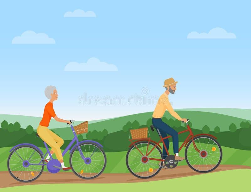 Ett högt par som rider cyklarna i bygden Gamla människor cyklister också vektor för coreldrawillustration vektor illustrationer