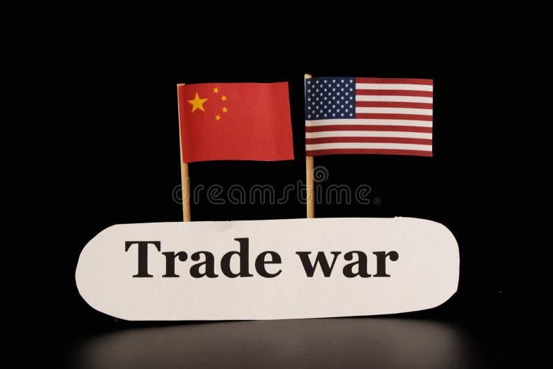 Ett handelkrig mellan USA och Kina Konflikt mellan västra och östligt arkivfoto