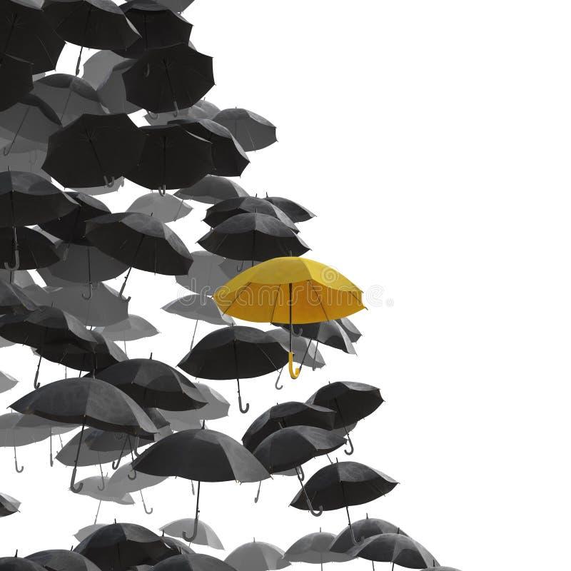 Ett hav av det svarta paraplyet men det gula ett anseendet ut fotografering för bildbyråer