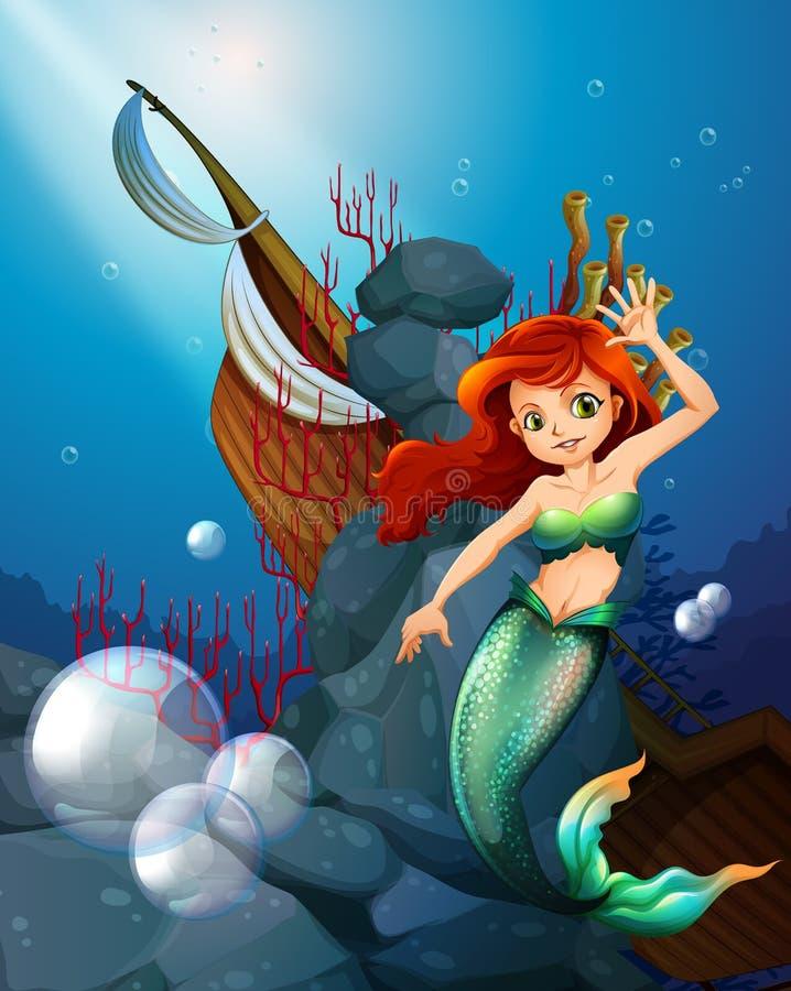 Ett hav med en sjöjungfru nära det skeppsbrutna fartyget royaltyfri illustrationer