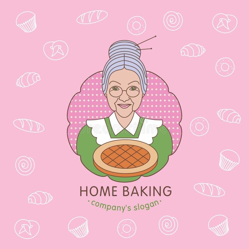 Ett hem- bageri rengöringsduk för jordklotlogovektor stock illustrationer