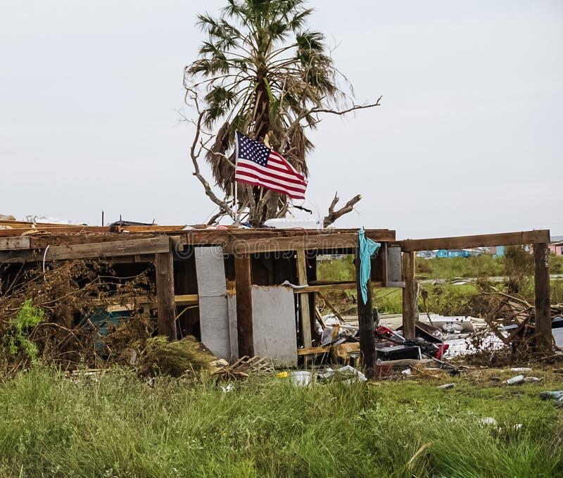 Ett hem som förstörs av den kraftiga orkanen Harvey på Texas Coast royaltyfri foto