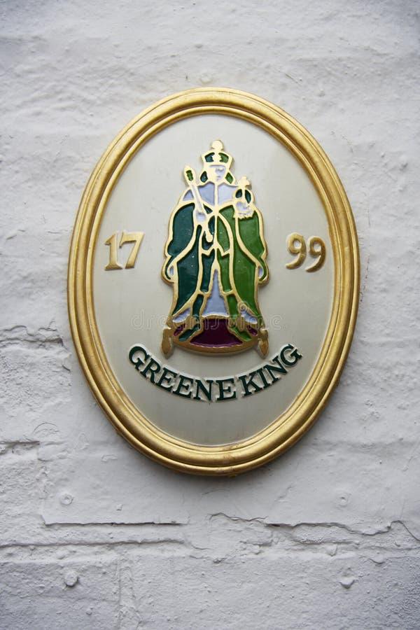 Ett historiskt emblem av det Greene konungbryggeriet fotografering för bildbyråer