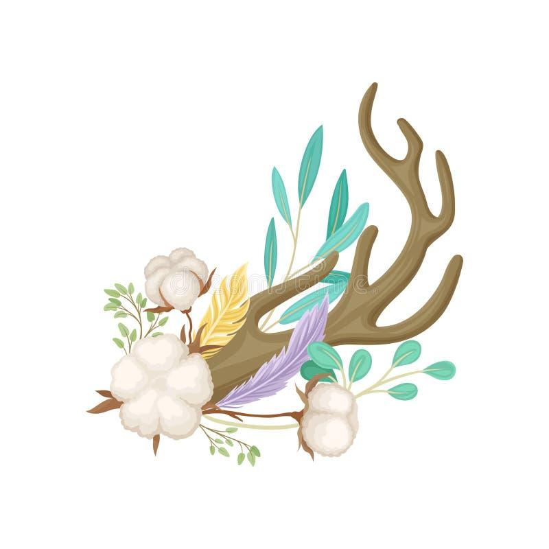 Ett horn med mogen bomull white f?r vektor f?r bakgrundsillustrationhaj stock illustrationer