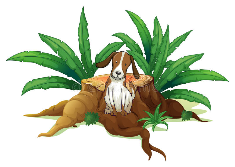 Ett hundsammanträde på rota av ett huggit av träd royaltyfri illustrationer