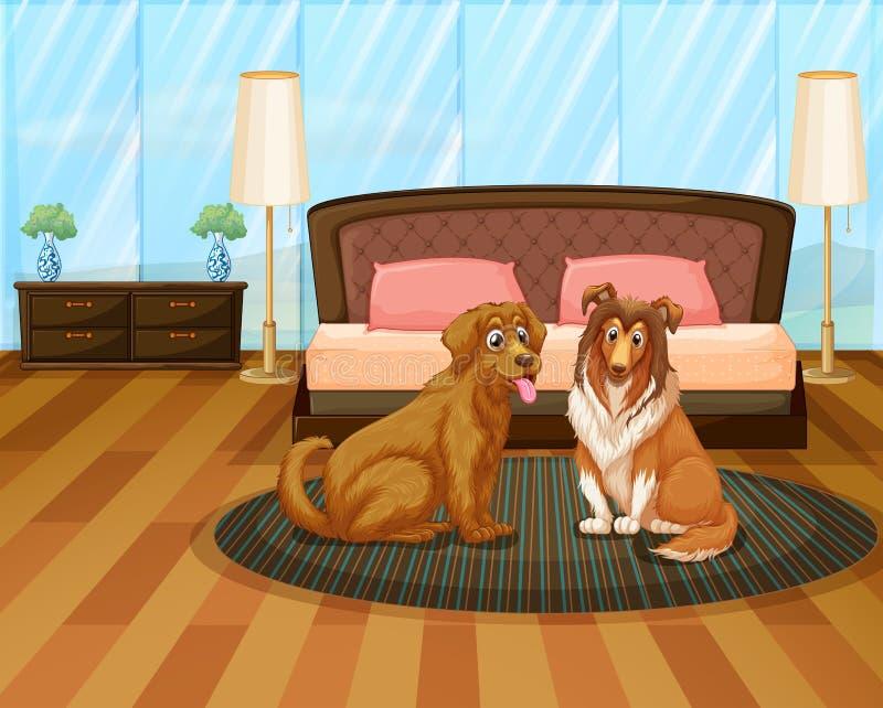 Ett hus med två hundkapplöpning stock illustrationer