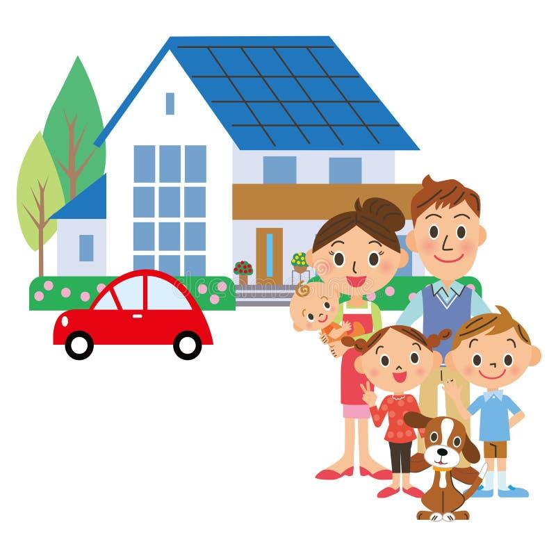 Ett hus och en familj vektor illustrationer