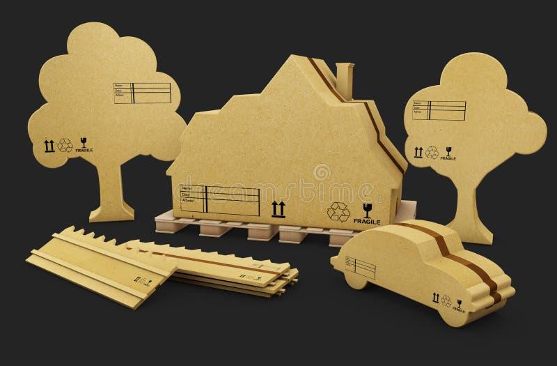 Ett hus, ett staket, en bil och ett träd i brun papp, isolerade den vita illustrationen 3d vektor illustrationer
