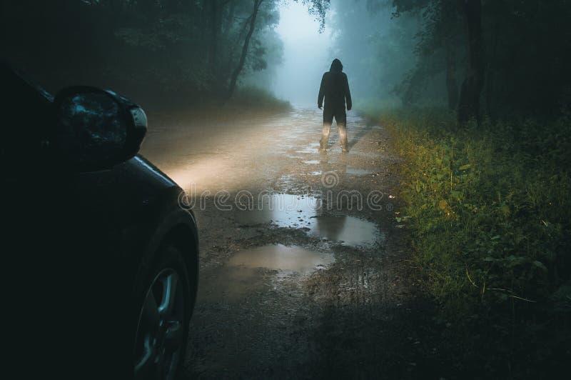 Ett illavarslande med huva diagram som framme står av bilbillyktor På en spöklik lerig skogväg på natten arkivbilder