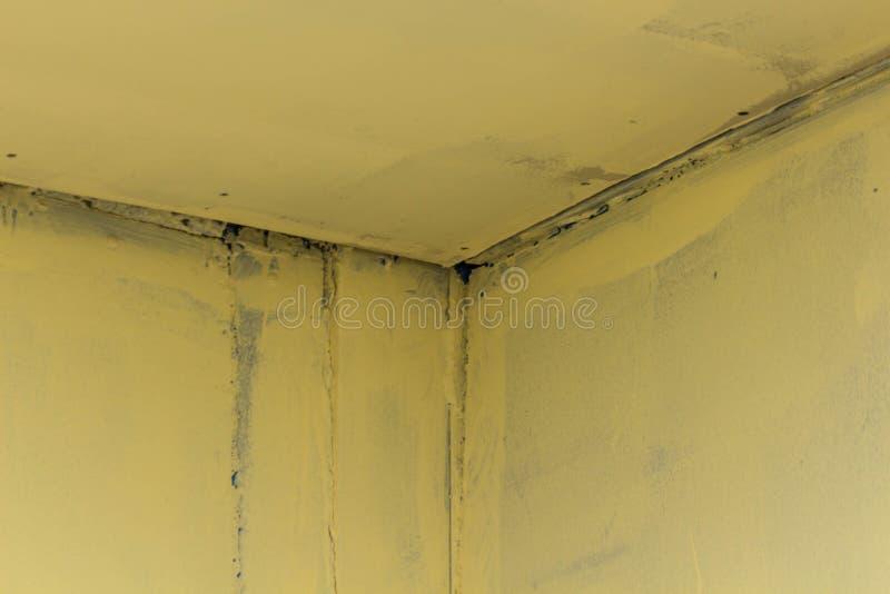 Ett järnhörn på föreningspunkten av väggarna med sömmar av en ofattbar färg arkivbilder