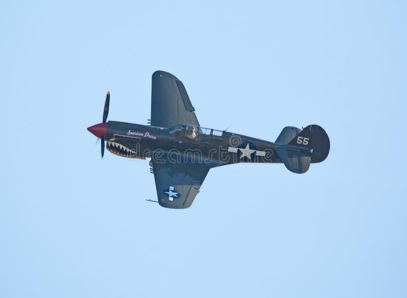 Ett kämpeflygplan för P-40 Warhawk i flykten mot en ljus blå himmel royaltyfri fotografi