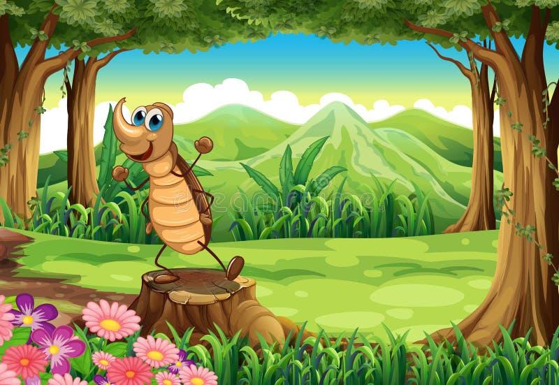 Ett kackerlackaanseende ovanför stubben på skogen royaltyfri illustrationer