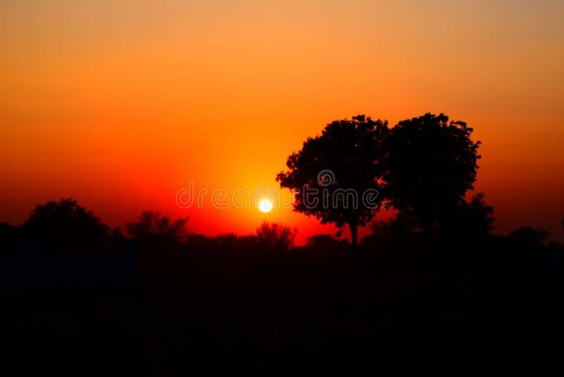 Ett klart fotografi av en härlig solnedgång arkivfoto