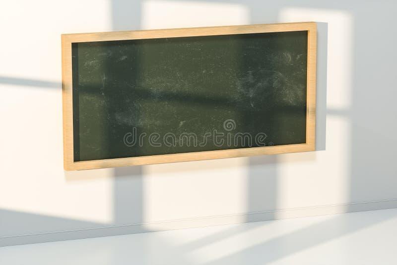 Ett klassrum med en svart tavla framtill av rummet, tolkning 3d royaltyfri bild