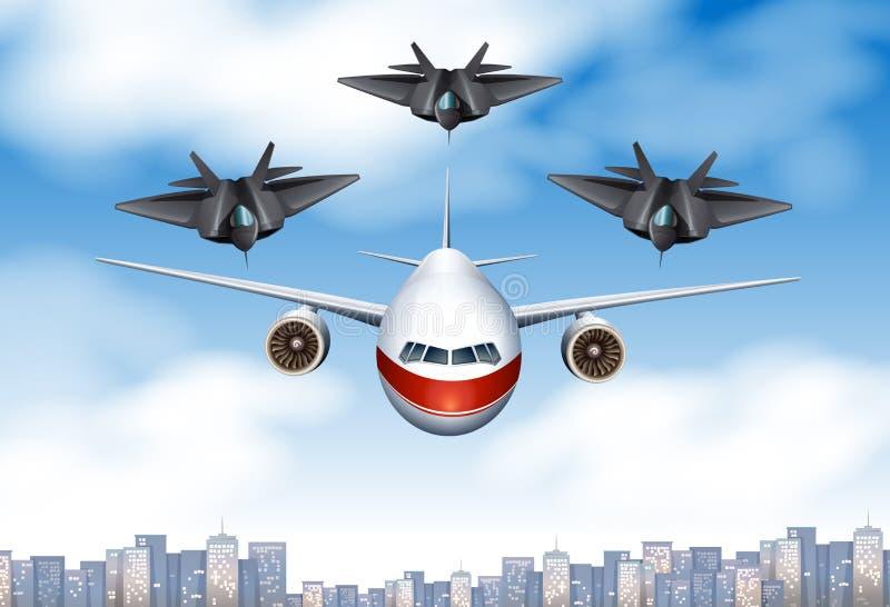 Ett kommersiellt flygplan och tre slåss nivåer i himlen stock illustrationer