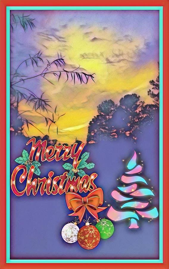 Ett konstnärligt glamoröst mönster av färgstark grafik som designar julkortet i jultomten royaltyfri illustrationer
