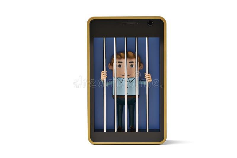 Ett kontorsmantecken i mobiltelefonarrest illustration 3d royaltyfri illustrationer