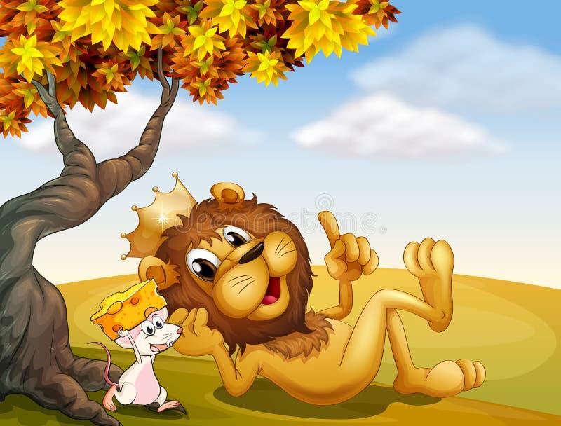 Ett konunglejon och en mus under trädet royaltyfri illustrationer