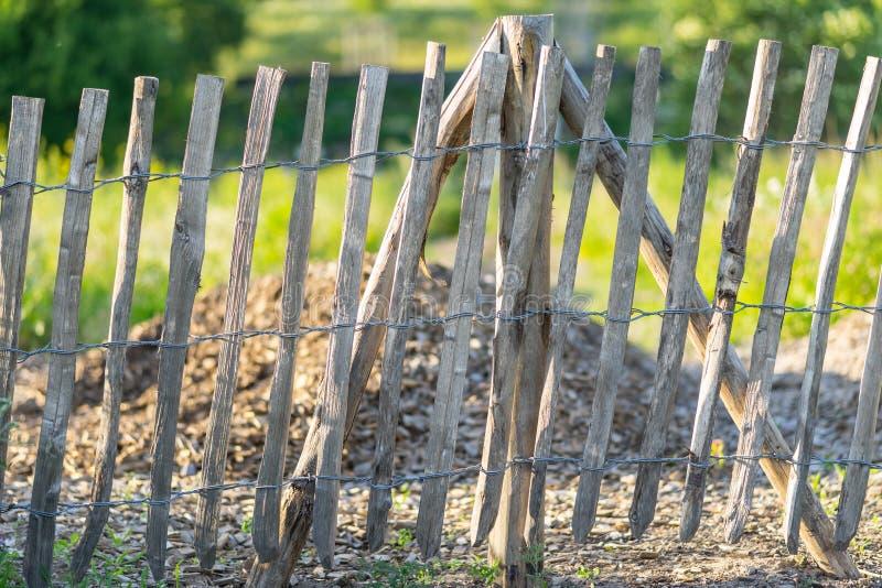 Ett krokigt tr?staket arkivfoto