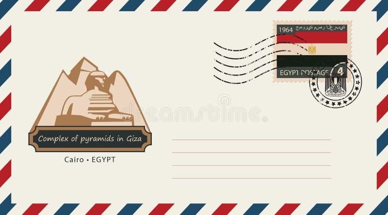 Ett kuvert med en portostämpel med Egypten pyramider stock illustrationer