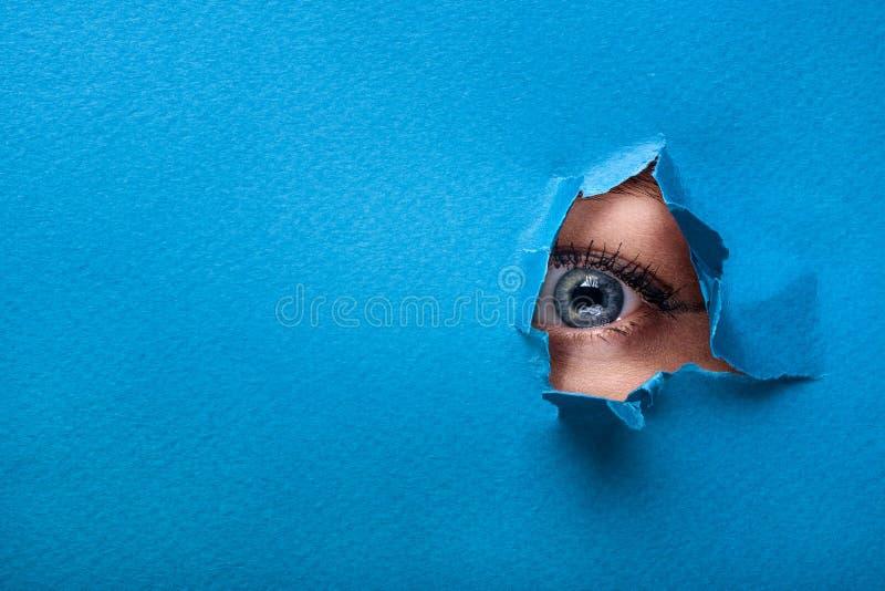 Ett kvinnligt öga ser till och med ett hål i en pappers- blå bakgrund royaltyfria foton