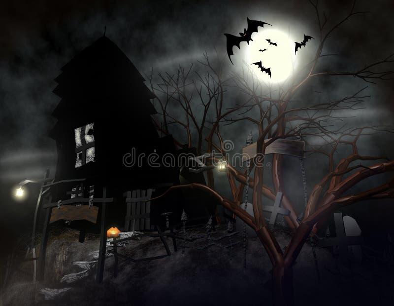 Ett läskigt halloween spökehus royaltyfri illustrationer