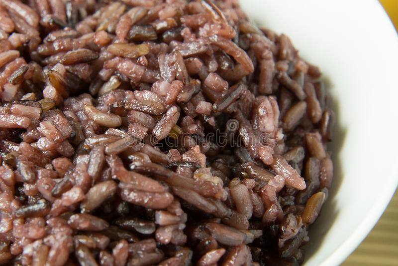 Ett lagat mat risbär, ris för jasmin för hela kornris thailändskt svart in royaltyfri fotografi