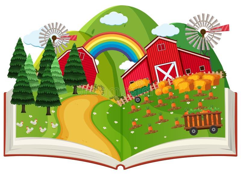 Ett lantbruk poppar upp boken royaltyfri illustrationer