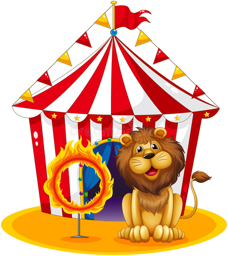 Ett lejon bredvid ett brandbeslag på cirkusen royaltyfri illustrationer