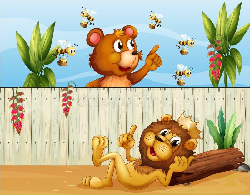 Ett lejon, en björn och bin royaltyfri illustrationer